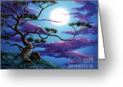 Laura Milnor Iverson Greeting Cards - Bent Pine Tree at Moonrise Greeting Card by Laura Iverson