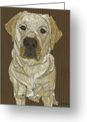 Yellow Dog Greeting Cards - Bentleys Glad to See You Greeting Card by David  Hearn