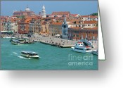 Colorful Buildings Greeting Cards - Benvenuto Venice Greeting Card by Sandra Bronstein