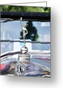Collectors Car Greeting Cards - Benz 1916 DS2 - Hood Ornament and Badge Greeting Card by Kaye Menner