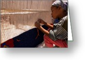 Northern Africa Greeting Cards - Berber Girl Working On Traditional Berber Rug Ait Benhaddou Southern Morocco Greeting Card by Ralph Ledergerber