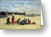 Signed Greeting Cards - Berck - Fisherwomen on the Beach Greeting Card by Eugene Louis Boudin