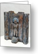 Religion Ceramics Greeting Cards - Bereit zum Dialog - Frauenstatue Greeting Card by ThingArt Helga Pohlen