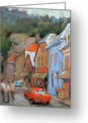 Colorful Buildings Greeting Cards - Bergen Sentrum Greeting Card by Joan  Jones