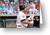 Lance Berkman Greeting Cards - Berkman at Bat Greeting Card by Teresa Blanton