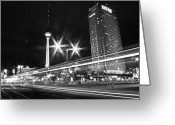 Communications Tower Greeting Cards - Berlin Alexanderplatz At Night Greeting Card by Bernd Schunack