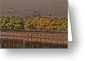 Tree Allee Greeting Cards - Berlin Cathedral ... Greeting Card by Juergen Weiss