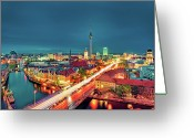 Communications Tower Greeting Cards - Berlin City At Night Greeting Card by Matthias Haker Photography