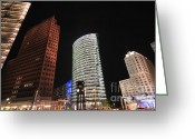 Lit Greeting Cards - Berlin Potsdamer Platz Potsdam Square Germany Greeting Card by Matthias Hauser