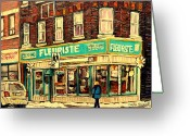 Corner Stores Greeting Cards - Bernard Florist Greeting Card by Carole Spandau