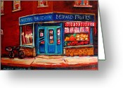 Montreal Street Life Greeting Cards - BERNARD FRUIT AND BROOMSTORe Greeting Card by Carole Spandau