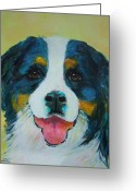 Contemporary Dog Portraits Greeting Cards - Bernese Mountain Greeting Card by Deb Magelssen
