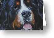 Bmd Greeting Cards - Bernese Mountain Dog head study Greeting Card by Lee Ann Shepard