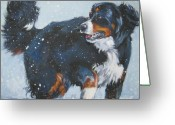 Bmd Greeting Cards - Bernese Mountain Dog in drift Greeting Card by L A Shepard