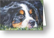Bmd Greeting Cards - Bernese Mountain Dog in grass Greeting Card by L A Shepard