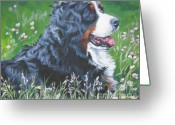 Bmd Greeting Cards - Bernese Mountain Dog In Wildflowers Greeting Card by L A Shepard