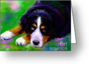 Custom Pet Portrait Greeting Cards - Bernese mountain dog portrait print Greeting Card by Svetlana Novikova