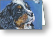 Bmd Greeting Cards - Bernese Mountain Dog Pup Greeting Card by Lee Ann Shepard
