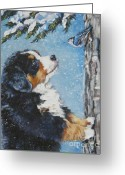 Dog Greeting Cards - bernese Mountain Dog puppy and nuthatch Greeting Card by L A Shepard