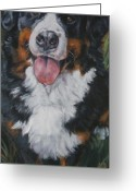 Bmd Greeting Cards - Bernese mountain dog standing Greeting Card by L A Shepard