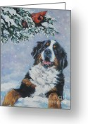 Bmd Greeting Cards - Bernese Mountain Dog with Cardinal Greeting Card by L A Shepard