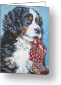 Bmd Greeting Cards - Bernese Mountain Dog xmas stocking Greeting Card by L A Shepard