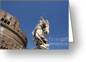 Statues Greeting Cards - Bernini Statue on the Ponte Sant Angelo Greeting Card by Bernard Jaubert