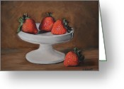 Strawberry Pastels Greeting Cards - Berries Greeting Card by Joanne Grant