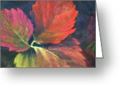 Strawberry Pastels Greeting Cards - Berry Leaves Greeting Card by Marlene Kingman