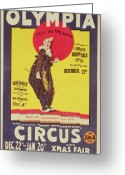 Olympia Greeting Cards - Bertram Mills circus poster Greeting Card by Dudley Hardy