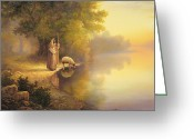 Drinking Water Greeting Cards - Beside Still Waters Greeting Card by Greg Olsen