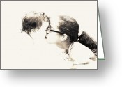 Madre Greeting Cards - Besito Santo Blessed Kiss Greeting Card by Vilma Rohena