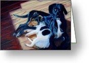 Pet Portrait Artists Greeting Cards - Best Buddies Greeting Card by Donna Tuten