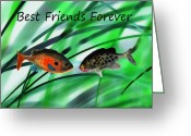 Buddies Greeting Cards - Best Friends Forever Greeting Card by Terril Heilman