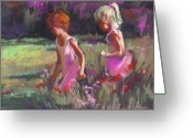 Blonde Girl Greeting Cards - Best Friends Greeting Card by Joan  Jones