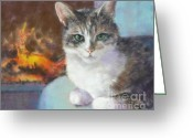Fire Pastels Greeting Cards - Best Seat in the House Greeting Card by Pamela Pretty