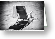 Beach Towel Photo Greeting Cards - Best Seat Greeting Card by John Rizzuto