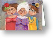 Old Lady Greeting Cards - BestFriendsForever Greeting Card by Arline Wagner