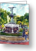 Central Painting Greeting Cards - Bethesda Fountain at Central Park Greeting Card by Chris Coyne
