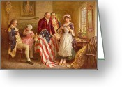 Betsy Ross Greeting Cards - Betsy Ross 1777 Greeting Card by Jean Leon Gerome Ferris