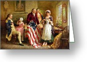 President Washington Greeting Cards - Betsy Ross and General George Washington Greeting Card by War Is Hell Store