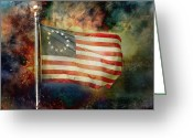 Betsy Ross Greeting Cards - Betsy Ross Flag Greeting Card by Steven  Michael