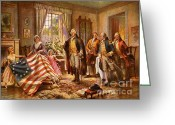 Betsy Ross Greeting Cards - Betsy Ross Showing Flag to George Washington. Greeting Card by Pg Reproductions