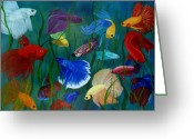 Aquarium Painting Greeting Cards - Bettas In Motion Greeting Card by Debbie LaFrance