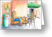 Los Angeles Painting Greeting Cards - Better-alone...-in-Starbucks-Sunset-8000-West-Hollywood-CA Greeting Card by Carlos G Groppa