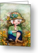 Jessica Grundy Greeting Cards - Betty in her Garden Greeting Card by Jessica Grundy