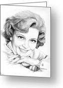 Pencil Greeting Cards - Betty White Greeting Card by Murphy Elliott