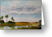 Cabbage Palm Trees Greeting Cards - Between Talbot Islands Greeting Card by Diana  Tyson