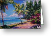 Bay Islands Painting Greeting Cards - Between the Palms 20x16 Greeting Card by John Clark