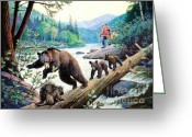 Cubs Painting Greeting Cards - Between Two Fires Greeting Card by Pg Reproductions